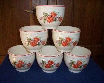 Six Vintage Universal Cambridge Custard Cups...American Beauty Rose