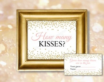 How many kisses sign (INSTANT DOWNLOAD) - Guess how many kisses - Guess how many game - Bridal shower games BR001