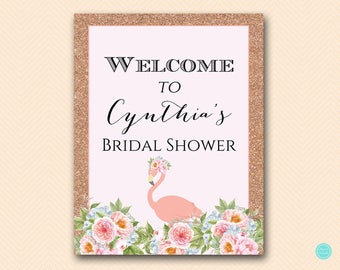 Rose Gold Flamingo Bridal Shower Welcome Sign, Welcome Bridal Shower Sign, Welcome Sign, Baby Shower Welcome Sign, Decoration Signs BS130