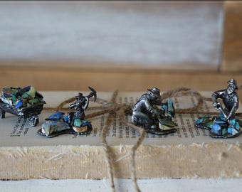 Australian miners figurines - Miniatures mixed-media collage sculptures - Bronze figurines and abalone shells