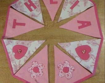 Handmade vintage bunting, custom made, any name, any colour