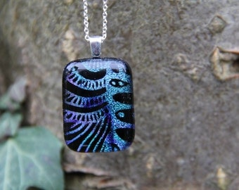 Blue and purple dichroic glass pendant, dichroic glass necklace, fused glass,  fused glass pendant, dichroic necklace , fish scale dichroic,