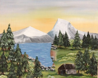 Original Acrylic on Wood Painting Mountain Cabin on the Lake.