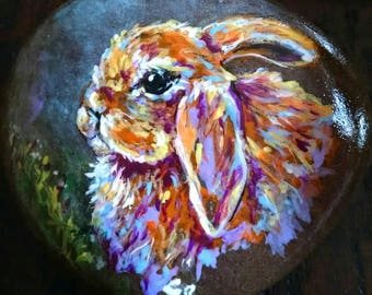 Summer Bunny Handpainded colorful Rabbit on River Rock