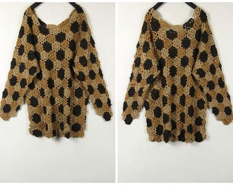 80's vintage Handmade hook flower Hollow-out pullovers wool sweater