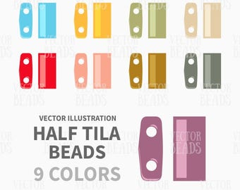 Two-hole Miyuki Half Tila Beads Clip-art Pack - ai, eps, pdf, png