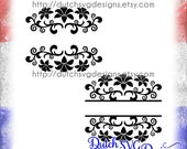 2 Split monogram cutting files with flowers, in Jpg Png Studio3 SVG EPS DXF, Cricut svg, Silhouette cut file, flourish svg, svg cut file