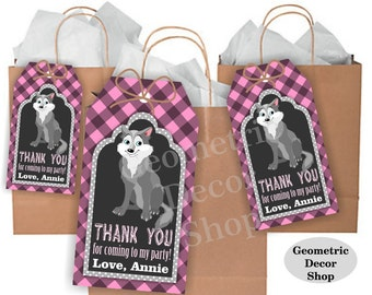 Lumberjack birthday, wolf favor tags, Pink Plaid Woodland, Great Wolf Lodge, favor tags, Rustic camping label loot bag candy FTLJ3