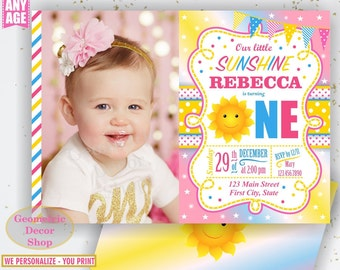 Sunshine Birthday Party Invite Sunshine First Birthday Invite You are my Sunshine Pink Yellow Digital PRINTABLE Photo Photograph BDS3