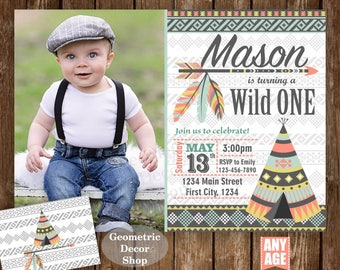 Wild one birthday invitation Boho 1st invite party First Boy invitations Photograph Tribal woodland sage green gay Photo Teepee Aztec Wild17