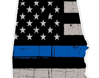 Alabama State (V3) Thin Blue Line Vinyl Decal Sticker Car/Truck Laptop/Netbook Window