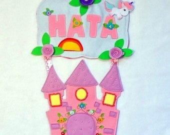 Name banner,panel for kids, fairy tale, castle, decor, home decor, decor for baby, decor for kids