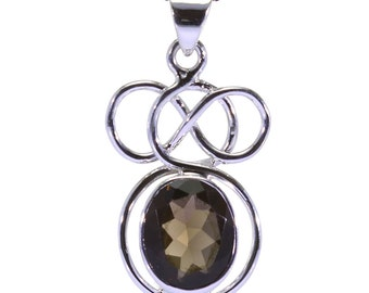 Smoky Quartz Pendant, 925 Sterling Silver, Unique only 1 piece available! color brown, weight 4g, #31081