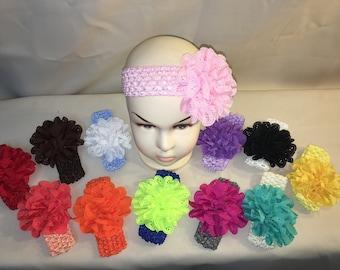 Crochet baby/toddler headband with eyelet flower