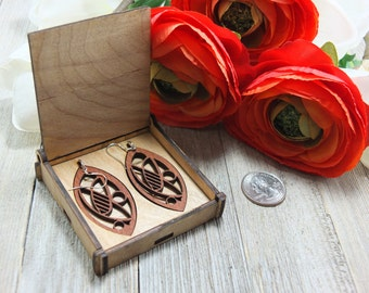 Laser cut wood earrings #8