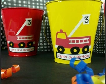 10 Personalized Fire Truck Themed Metal Favor Pails