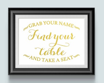 Table seating, Wedding seating signs, Find your seat sign, Gold Wedding, wedding reception sign, Wedding ideas, wedding signage, take a seat