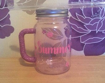Personalised glitter and vinyl hard plastic mason jar with lid and straw