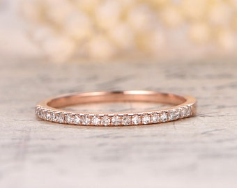 Valentine's day present 14K Rose Gold Wedding Band Half Eternity Ring Engagement Ring Stackable Ring Micro Pave Diamond Ring Eternity Bands