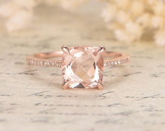 8mm Cushion Cut Morganite Ring,Morganite Engagement Ring,Morganite Solitaire Ring,Diamond Wedding Band 14K Gold,Propose Ring,Promise Ring