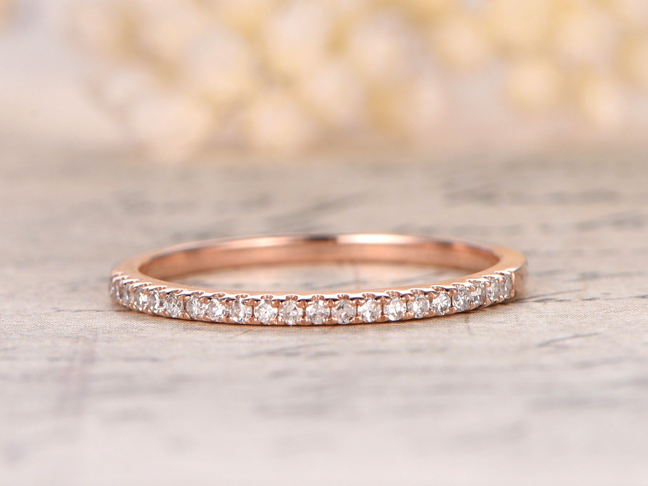 eternity bands eternity wedding bands Valentine s day present 14K Rose Gold Wedding Band Half Eternity Ring Engagement Ring Stackable Ring Micro Pave Diamond Ring Eternity Bands