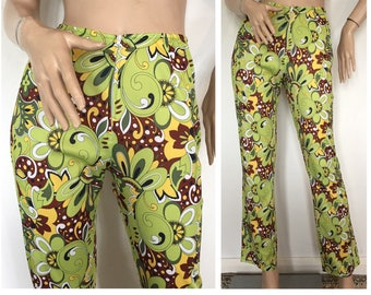 Vintage 60s 70s Psychedelic Flared Trousers Fitted Cigarette Pants Hippie Boho Mod Mid Century Modern Op Pop Art 1950s 50s 1960s 1970s 90s