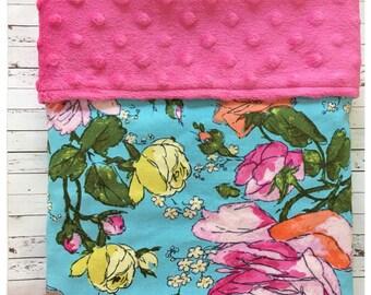 Handmade Minky Blanket, Bassinet Blanket, Pram Blanket, Baby Shower