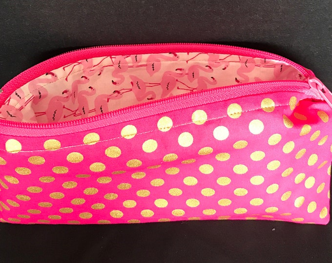 Gold polka-dot with Dark Pink background zipper pouch | money bag, cosmetic bag, coin purse, glasses bag, essential oil bag