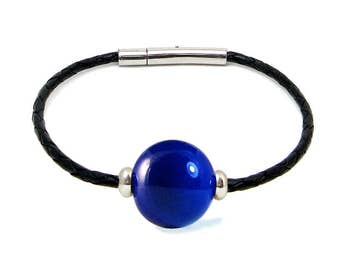 Murano Glass Leather Bracelet 'Lapis' from Mystery of Venice in Blue Lapis, Murano Glass Bracelet, Murano Glass Jewelry, Murano Bracelet