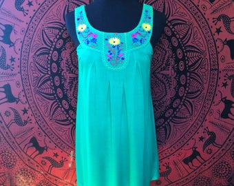 Embroidered Floral Yoke Dress/Long Top Tank SIZE SMALL