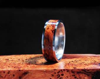Black Cherry Burl wood inlay and Titanium ring Cherry Burl Inlay ring Black Cherry Burl ring wedding band wood inlay ring metal and wood