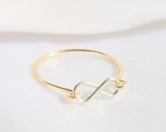 infinity ring rose gold. best friend ring - infinity ring, sterling silver , thin gold rose