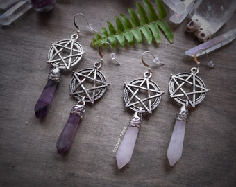Earrings silver pentagram pendant, amethyst, rose quartz, opalite, crystal earrings, birthstone january february october, healing gemstone
