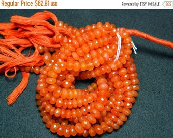 ON SALE 50% Carnelian Rondelles, Original Gemstone, Micro Faceted Rondelle Beads, 8mm Beads, 10 Inch Strand, 48 Pieces Approx
