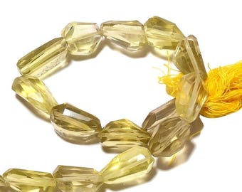 ON SALE 50% lemon Quartz Step Cut Tumble, Lemon Quartz Nugget Beads, Faceted Gemstones, 15mm To 18mm, 4.5 Inch Half Strand, SKU-B55