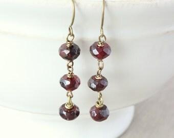 Garnet Drop Earrings - Dangle Earrings, Burgundy Earrings, Bronze Earrings, Bronze Jewelry, Simple Earrings, Elegant Earrings, Birthstone