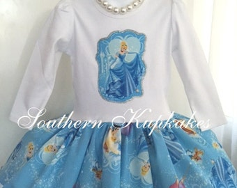 Girls Cinderella Castle Bday Disney inspired Twirl Birthday Dress Custom Boutique Pageant Party All Sizes Princess Character wear outfit