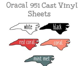 "Oracal 951 White OR Black 12x12"" Cast Adhesive Vinyl - 1 Sheet Oracal 951 Glossy Cast Vinyl"