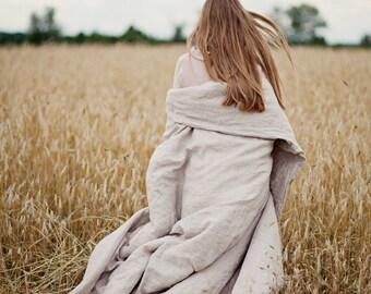 Linen duvet cover. King size. Natural, washed, softened linen bedding in natural light grey color.