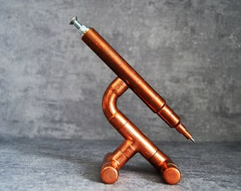 SET 5 copper pen on a holder, souvenir pen, pen for engineer, luxury pen set, customized pen, desk pen, pen for him, one of a kind pen
