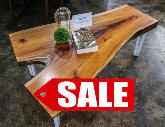 SALE! Honduran Mahogany Live Edge Wood Slab Coffee Table