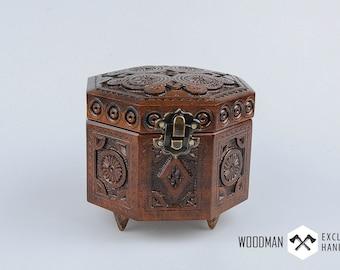 Carved wooden box, dark jewelry box, Jewelry box, Gift for her, Jewel-case, Wooden jewelry box, Wedding rings box, Jewelry storage