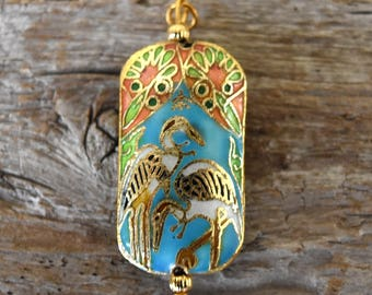 Vintage Cloisonné Enamel Crane Pendant Asian Inspired Necklace Charm