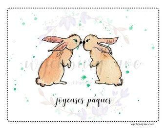 Printable French Easter Card / French Easter Greeting / French Bunny Card / Carte Pâques / Carte Joyeuses Pâques
