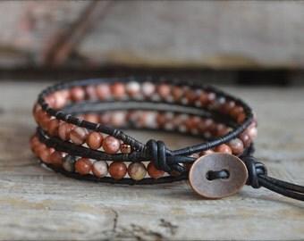 Gemstone Wrap Bracelet, Wrap Bracelet, Leather Wrap Bracelet, Boho Wrap Bracelet, Double Wrap Bracelet