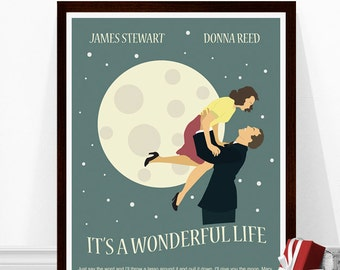 It's a Wonderful Life Poster, Minimalist Movie Poster, Christmas Movie Poster, Art Print, 1940s Movie Art