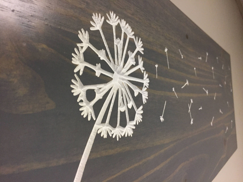 Dandelion Wall Art Wood Engraved Carved Hanging Sign