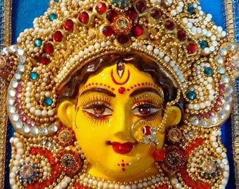 hindu goddess durga/kali jewelled mask in fancy frame, 8 inches