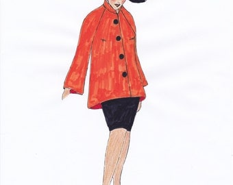 1960s Coat Corie - PDF Pattern Sizes US18/UK22/DE48 and US20/UK24/DE50