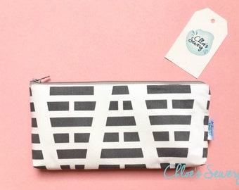 Gray Pencil Case, Gray Pencil Pouch, Zipper Pouch, Pencil Holder, School Supplies Bag, Purse Organizer, Teen Gift, Makeup Bag, Cosmetic Bag